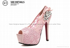 Women's casual summer sandal lace flora crochet high heel shoe rinestone boot
