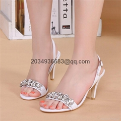 2016 new style lady's wedding high heels sandals leather shoe party footwear