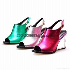 Tee platform 8cm heel women's geniune leather sandal glass heel dress dress shoe