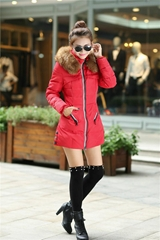 women's down jacket zipper fly fox fur collar pocket small quantity make clothes