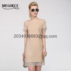 summer women short dress short sleeve lace insert high quality slim workwear ski