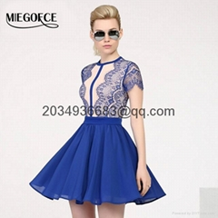 lady's short silhouette A-line with short sleeves evening party dress