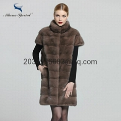 Athena Special 2016 Ladies Mink Genuine Vest Long Women Real Fur Vest Coat