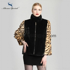 2016 italy style women's mink fur knit waistcoat tiger fur bat wing sleeves (Hot Product - 3*)