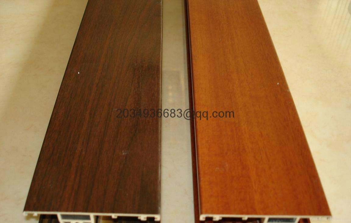 OEM T5 extruded coated wooden partern aluminum profile 4
