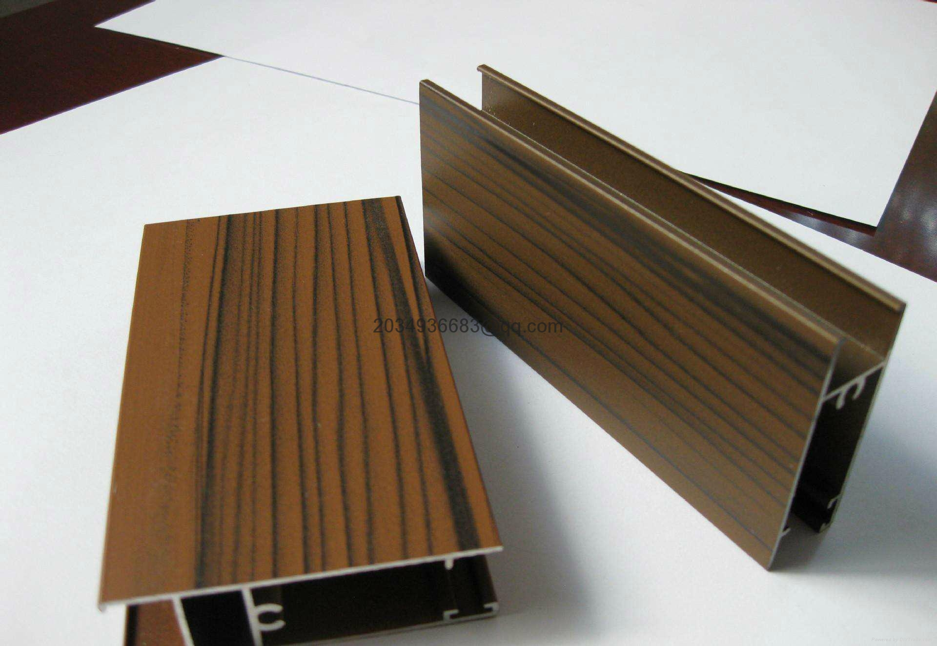 OEM T5 extruded coated wooden partern aluminum profile 8