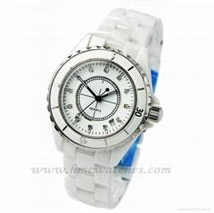 Fashion round dial quartz analog white ceramic waterproof watch