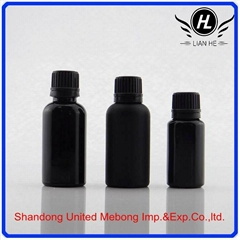Cosmetic black frosted essential oil dropper glass bottle