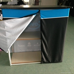 Fabric Covered Metal Counter Display Stand with wood surface