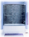 Frameless bypass tub door