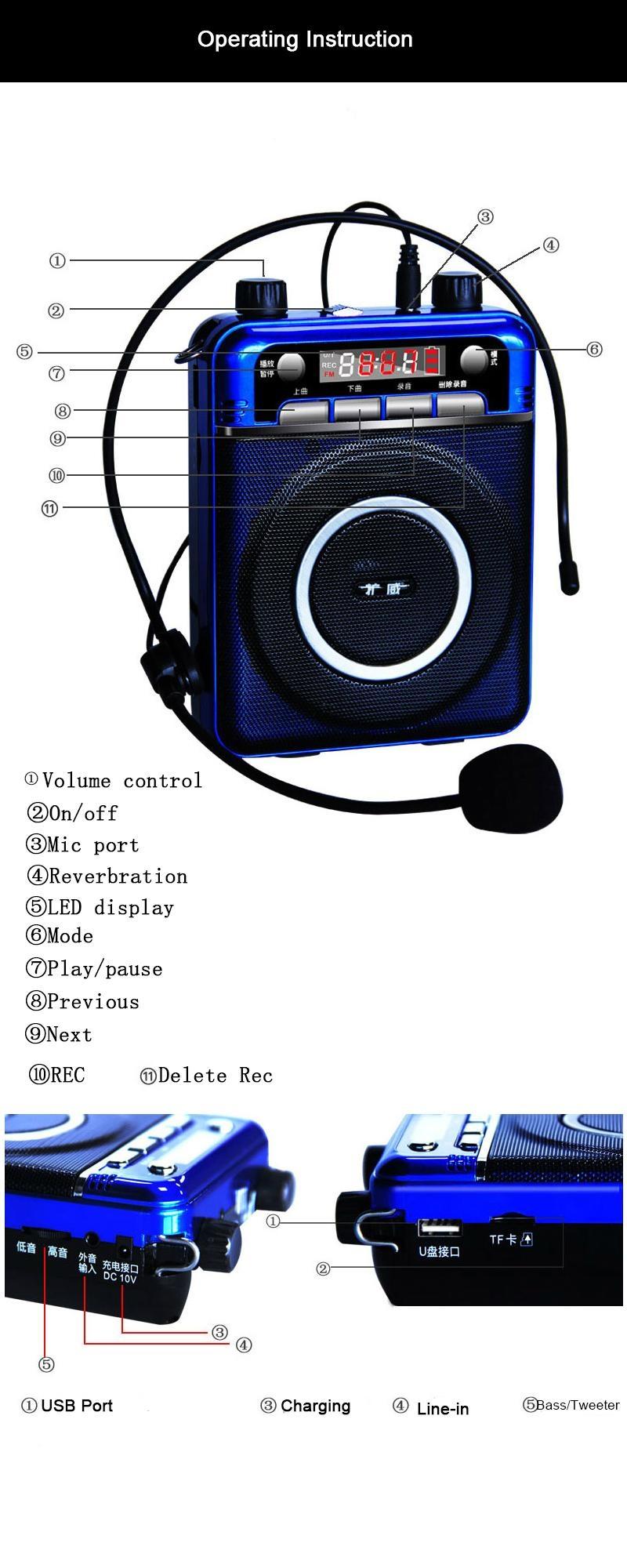 Wireless Mini PA system amplifier Portable Megaphone18w loudspeaker for teacher  3