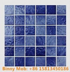 48x48 Standard antiskid glazed wave like blue white ceramic swimming pool mosaic