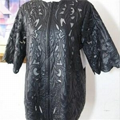 Imitation Leather Embroidery Jacket