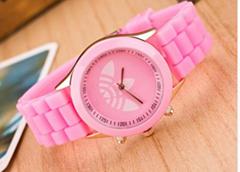 Fashion Wristwatch Unisex jelly silicone watch Quartz 3 Leaf Grass Casual Sport