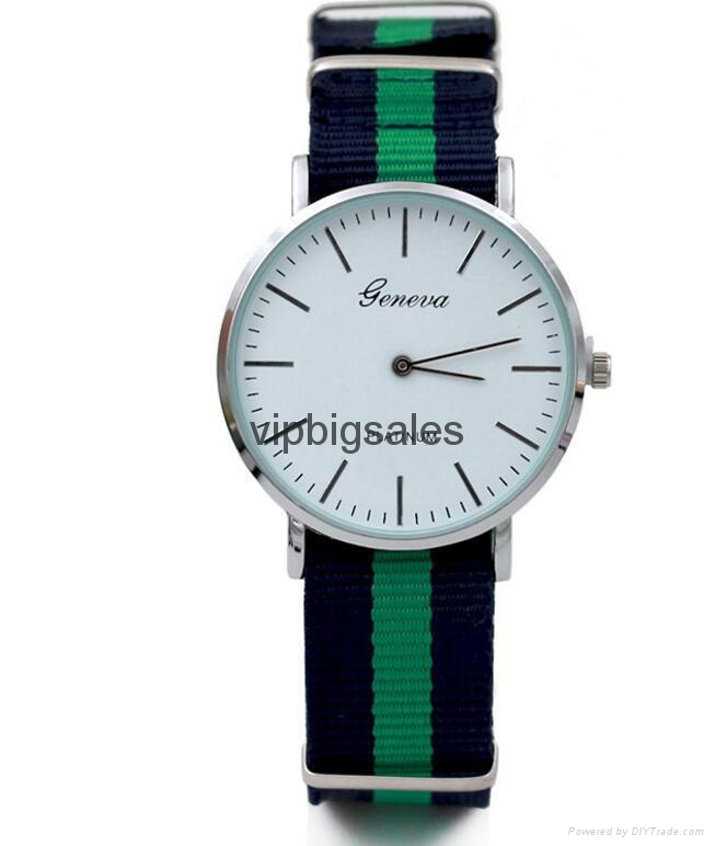 Stripe Nylon Fabric Canvas Sports wristwatch men Casual Watch  1