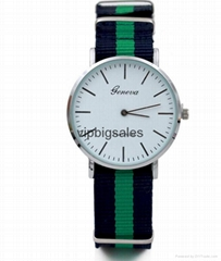 Stripe Nylon Fabric Canvas Sports wristwatch men Casual Watch