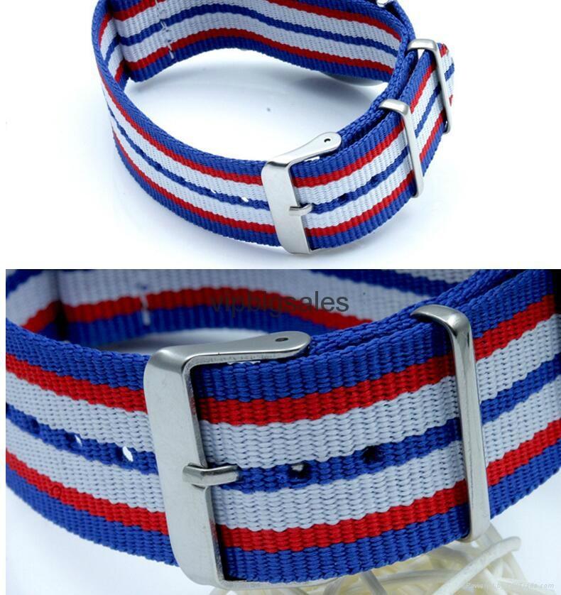 Stripe Nylon Fabric Canvas Sports wristwatch men Casual Watch  8