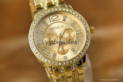 Wholesale Price Geneva Watch Wrap Quartz Crystal Watch Rose Gold Color Casual