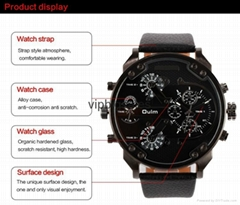 DHL Free shipping oulm brand model HP3548 promotion dual time watch