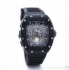 epacket Free shipping Drilling ghost silicone quartz men Watch