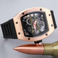 Hot fashion. Hollow silicon tape quartz men's watch imitation mechanical watch