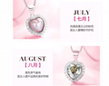 S925 sterling silver 12 birthday stone love necklace with Austrian crystal