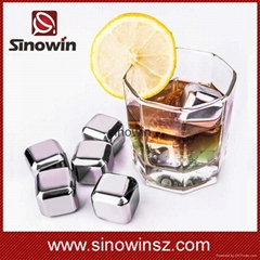 Home Drinking Wine Cold Ice Cube Cool Stainless Steel Ice Cube Set of 8