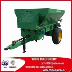 Tractor trailed fertilizer spreader for animal manure
