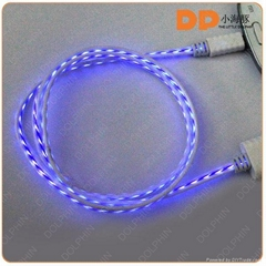 Wholesale EL wire glowing USB cable visible flowing light sync data cable