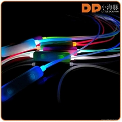 High quality color-changing glowing LED wired earphone with microphone