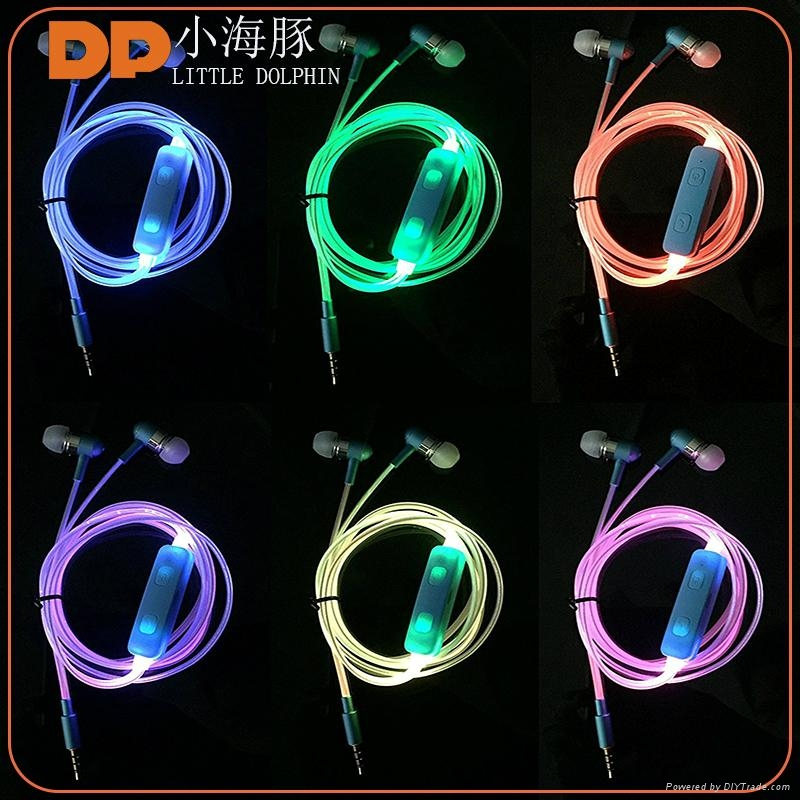 High quality color-changing glowing LED wired earphone with microphone 2