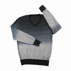 2016 men's v-neck pullover striped tie dye printing sweater