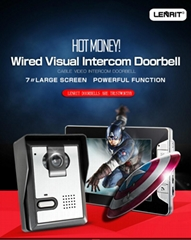 Wired Visual Intercom Doorbell 7〃Large Screen Infrared Night Vision Multiple Rin
