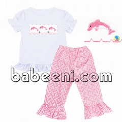 Whale hand smocked set for baby girls