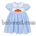 Cute pumpkin hand smocked dress for