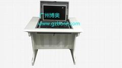 新款鋼木單位電教室液晶屏翻轉電腦桌