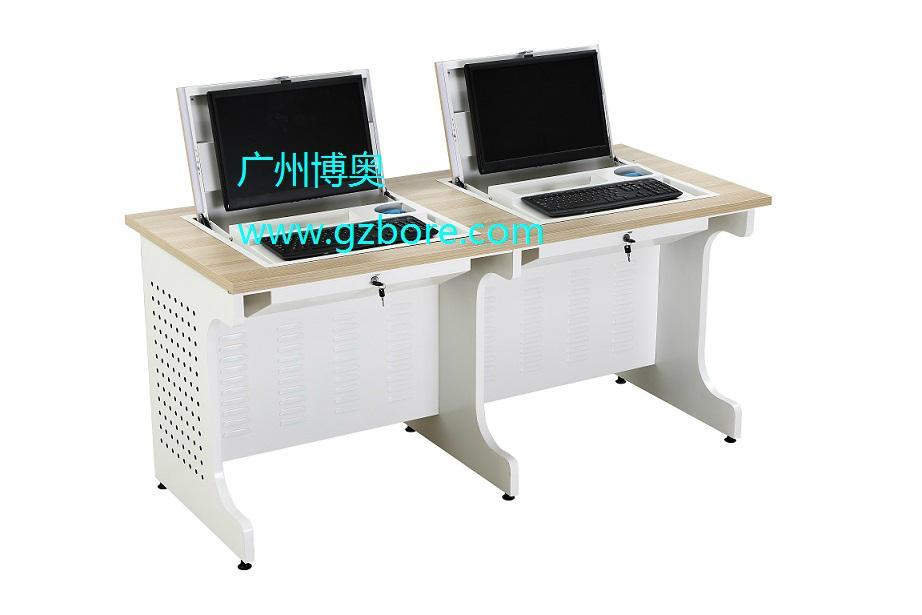 新款鋼木單位電教室液晶屏翻轉電腦桌 5