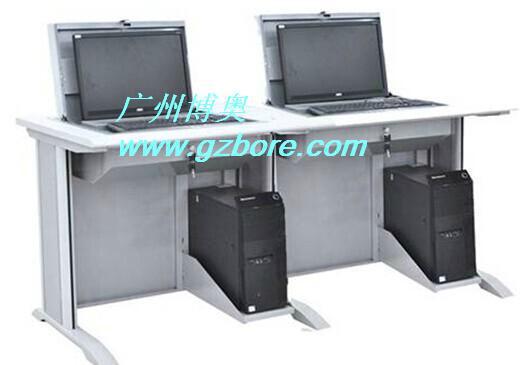 鋼木雙位多媒體培訓室液晶屏翻轉電腦桌 2