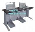鋼木雙位多媒體培訓室液晶屏翻轉電腦桌 1
