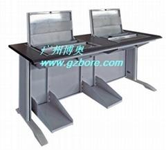 鋼木雙位多媒體培訓室液晶屏翻轉電腦桌