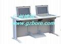 鋼木雙位多媒體培訓室液晶屏翻轉電腦桌 3