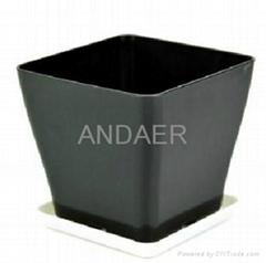 方形帶托盤小盆栽塑料花盆