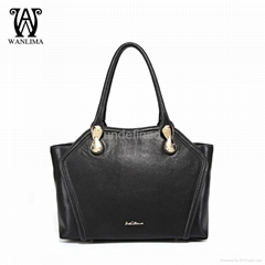 WANLIMA NEW GENUINE LEATHER HANDBAG SHOULDER BAG BLACK