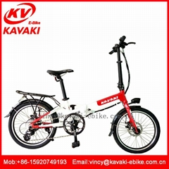 Newest fashion folding electric ebike 20inch F/R disc brake electric bicycle