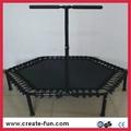 CreateFun 53 inch mini indoor hexagon trampoline with handle bar 2