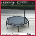 CreateFun 53 inch mini indoor hexagon trampoline with handle bar 3