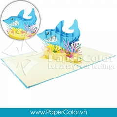 The shark card, 3d pop up card, greeting card