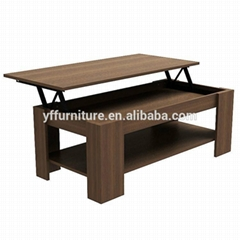 Wooden Home Furniture Height Adjust Morden Wood Lift Top Coffee Table