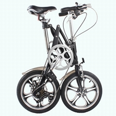 aluminum alloy folding bicycle with integrated wheel