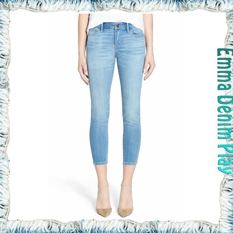 2016 Top High Waisted Classical Design Girls Capri Denim Skinny Stretch Jeans - Emma-333W women ...